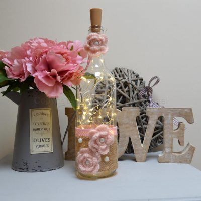 Handmade Pink Flower LED Light Up Bottle