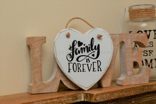 "Handmade ""Family Is Forever"" Painted Wooden Hanging Heart"
