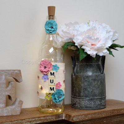 Handmade Floral Mum Light Up Bottle