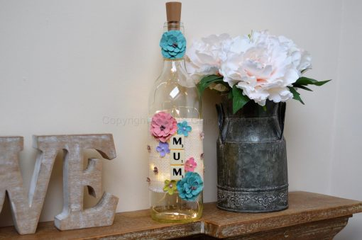 Handmade Floral Mum Light Up Bottle
