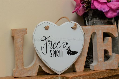 "Handmade ""Free Spirit"" Painted Wooden Hanging Heart"