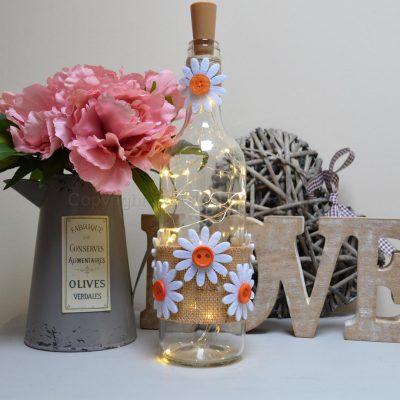 Handmade Daisy LED Light Up Bottle