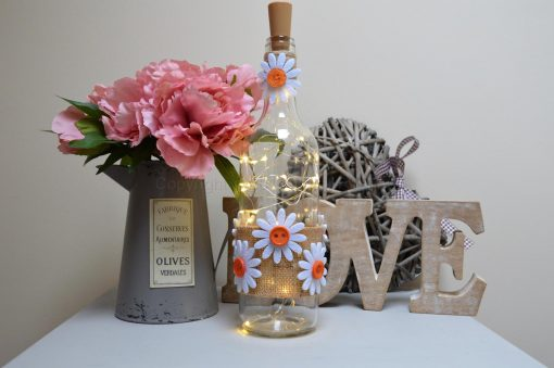 Handmade Daisy LED Light Up Bottle