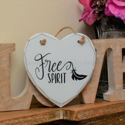 "Handmade ""Free Spirit"" Painted Wooden Hanging Heart"