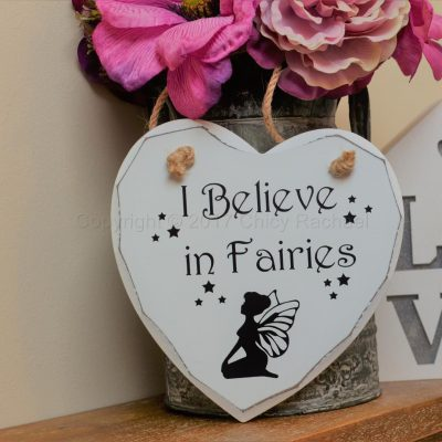"Handmade ""I Believe In Fairies"" Painted Wooden Hanging Heart"