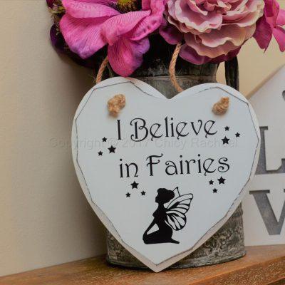 "Handmade ""I Believe In Fairies"" Painted Wooden Hanging Heart"