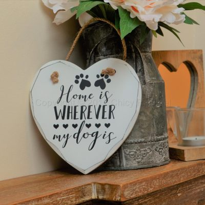 "Handmade ""Home Is Wherever My Dog Is"" Painted Wooden Hanging Heart"