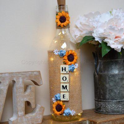Handmade Sunflower Home LED Light Up Bottle