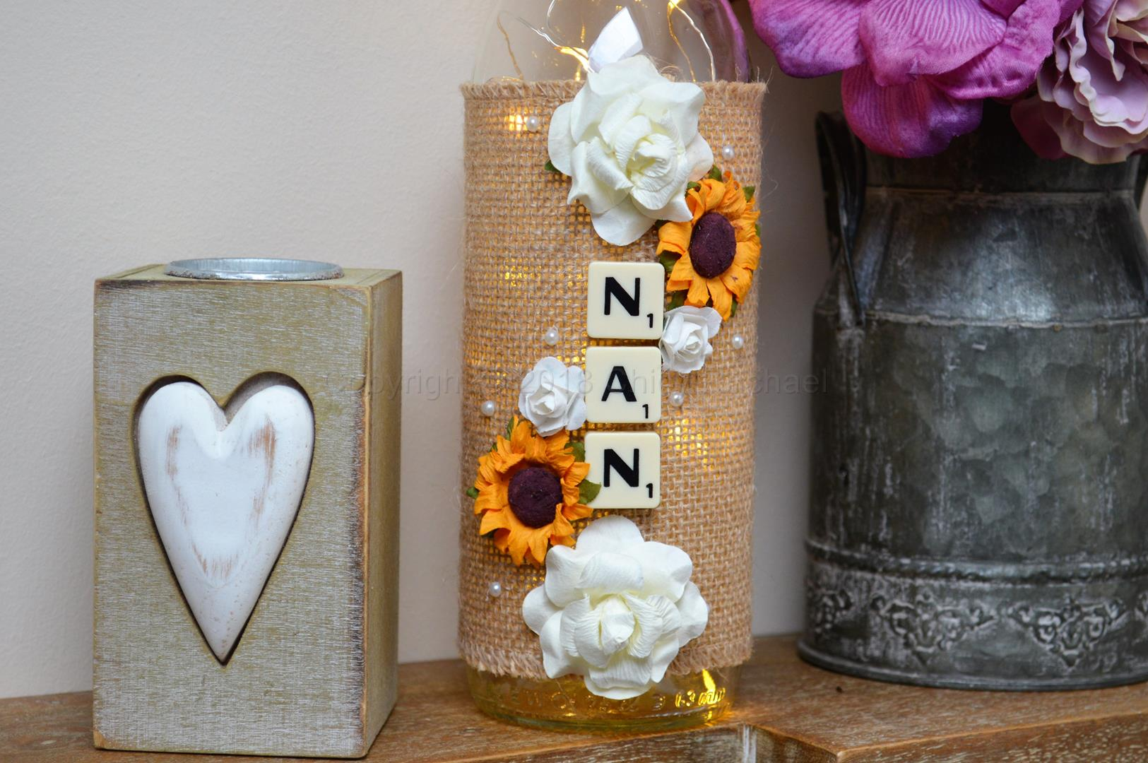 Handmade Sunflower Nan Led Light Up Bottle Chicy Rachael