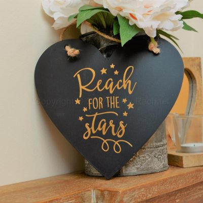 Handmade Reach For The Stars Hanging Black Heart
