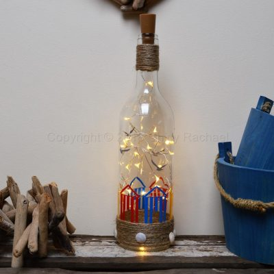 Handmade Beach Hut LED Light Up Bottle