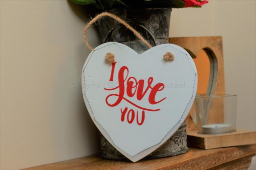 "Handmade ""I Love You"" Painted Wooden Hanging Heart"