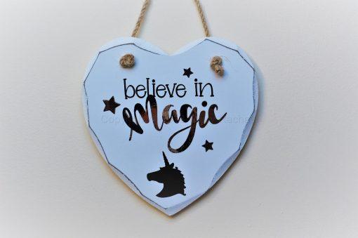 Handmade Believe In Magic Hanging Heart