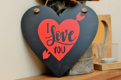 "Handmade ""I Love You"" Hanging Black Heart"