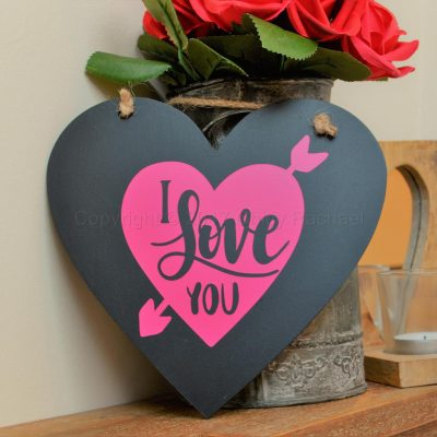 "Handmade ""I Love You"" Hanging Heart Black"