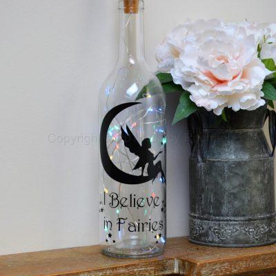 Handmade I Believe In Fairies LED Light Up Bottle