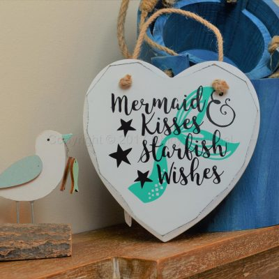 "Handmade ""Mermaid Kisses & Starfish Wishes"" Painted Wooden Hanging Heart"