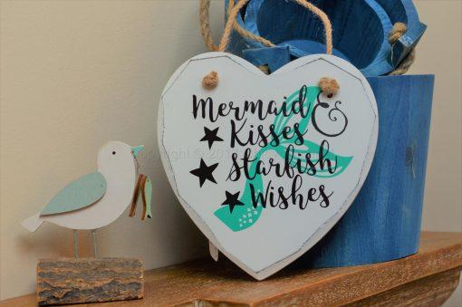 """Handmade """"Mermaid Kisses & Starfish Wishes"""" Painted Wooden Hanging Heart"""