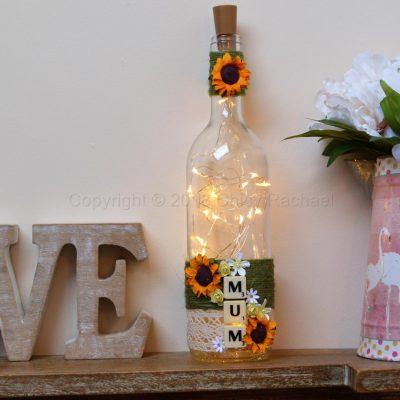 Handmade Mum LED Light Up Bottle