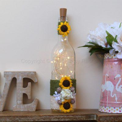 Handmade Sunflower And Rose LED Light Up Bottle