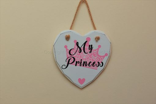 "Handmade ""My Princess"" Painted Wooden Hanging Heart"