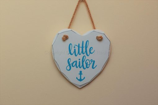 "Handmade ""Little Sailor"" Painted Wooden Hanging Heart"