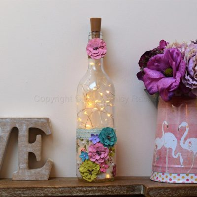 Handmade Vibrant Floral LED Light Up Bottle