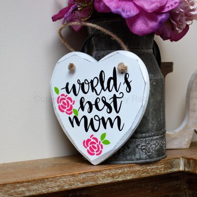 "Handmade ""World's Best Mum"" Painted Wooden Hanging Heart"