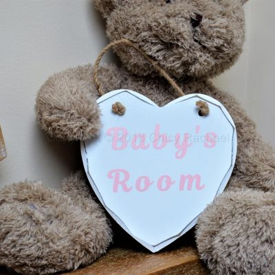 "Handmade Pink ""Baby's Room"" Painted Wooden Hanging Heart"