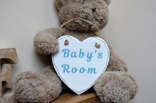 "Handmade Blue ""Baby's Room"" Painted Wooden Hanging Heart"