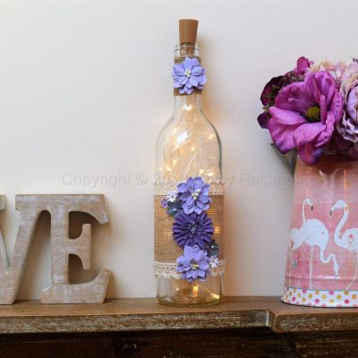 Handmade Purple Floral LED Light Up Bottle