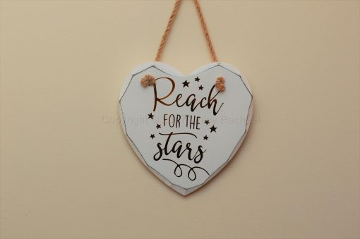 "Handmade ""Reach For The Stars"" Painted Wooden Hanging Heart"