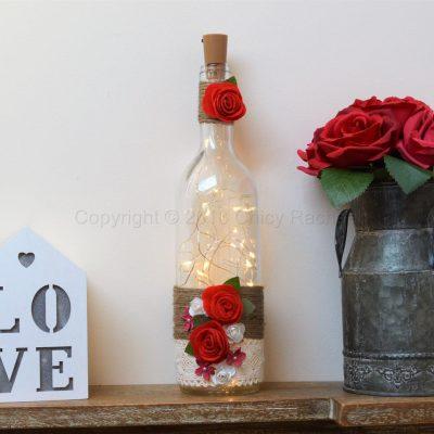 Handmade Red Rose LED Light Up Bottle