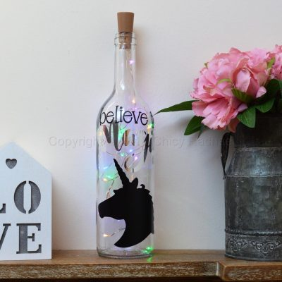 Handmade Unicorn Head LED Light Up Bottle Multi Coloured