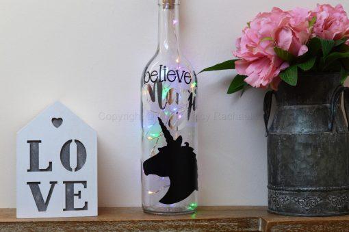 Handmade Unicorn Head LED Light Up Bottle Multi Coloured