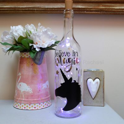 Handmade Unicorn Head LED Light Up Bottle