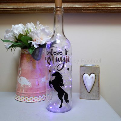 Handmade Unicorn LED Light Up Bottle Purple
