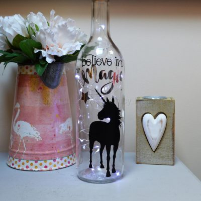 Handmade Standing Unicorn LED Light Up Bottle White