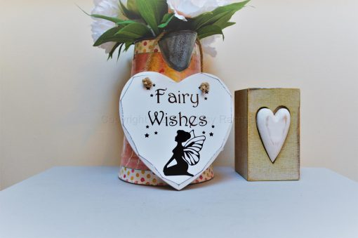 "Handmade ""Fairy Wishes"" Painted Wooden Hanging Heart"
