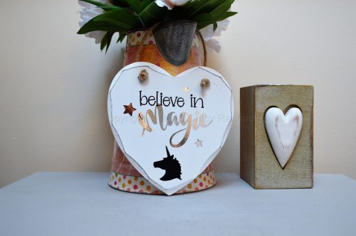 Handmade Believe In Magic Hanging Heart
