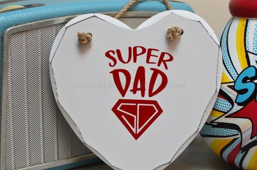 Handmade Red Super Dad Hanging Heart