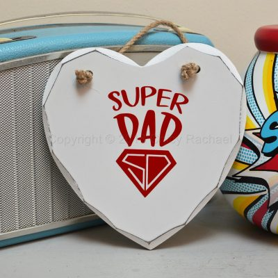 Handmade Red Super Dad Hanging Heart