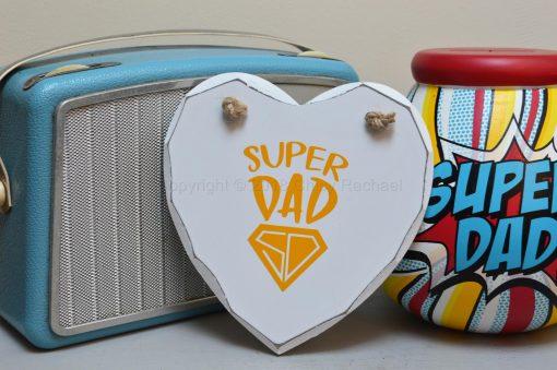 Handmade Yellow Super Dad Hanging Heart