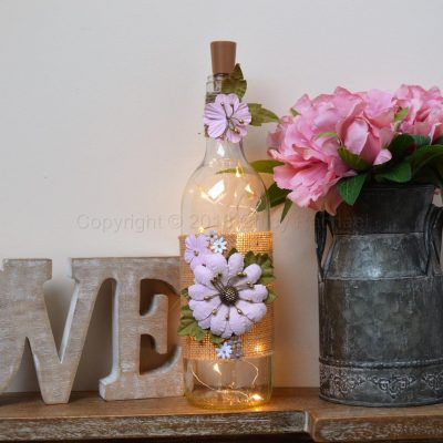 Handmade Pink Floral LED Light Up Bottle