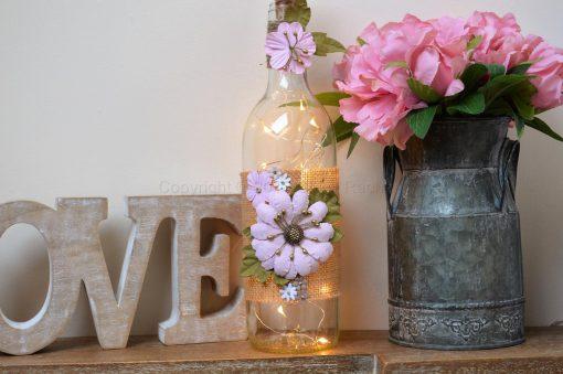 Handmade Pink Floral LED Light Up Bottle