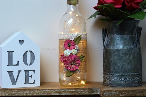 Handmade Red Floral LED Light Up Bottle