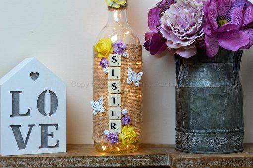 Handmade Sister LED Light UP Bottle