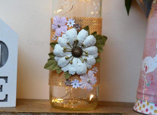 Handmade White Floral LED Light Up Bottle